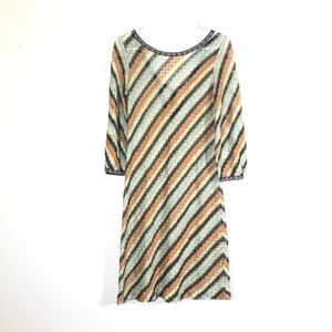 Missoni Striped Shift Dress Small 3/4 Sleeve